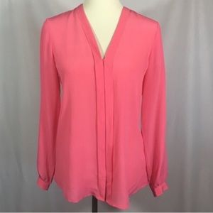 Banana Republic 100% Silk Carmine Pink Long Sleeve